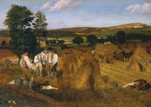 Hereford, Dynedor and the Malvern Hills, from the Haywood Lodge, Harvest Scene, Afternoon 1815 by George Robert Lewis 1782-1871