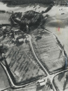 Aerial View of Kilpeck taken in 1960 showing traces of the lost medieval village