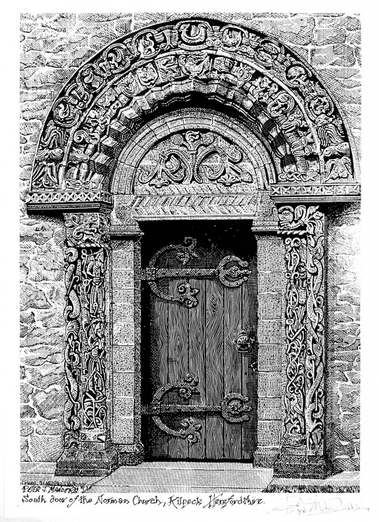 etching of south door by Peter J Manders